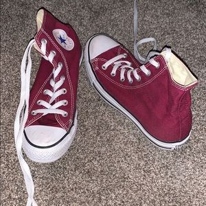 Nearly new converse high tops maroon Womens 8
